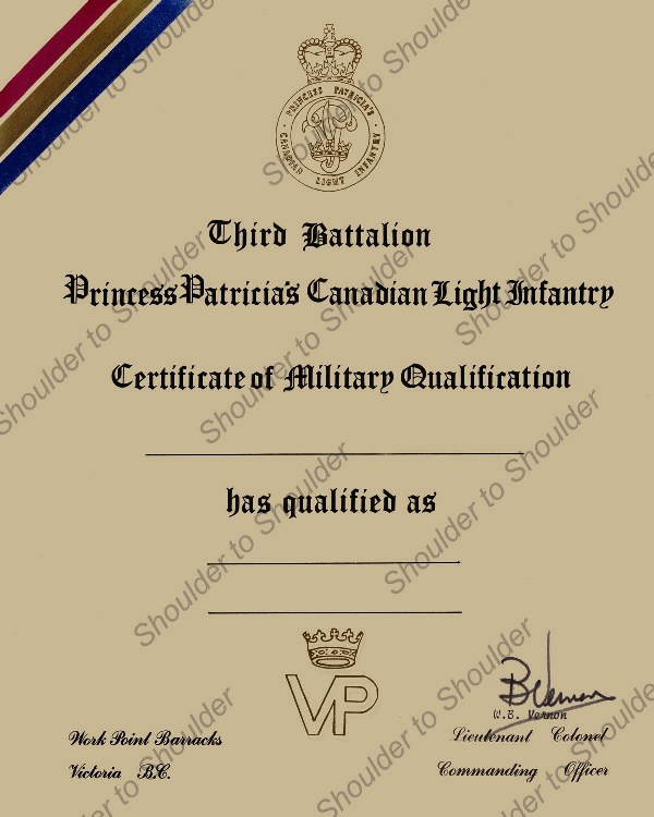 Post 1968 PPCLI Certificate of Qualification - Shoulder to Shoulder ...